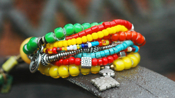Exotic Soulful and Colorful Beaded Bohemian Charm Bracelet