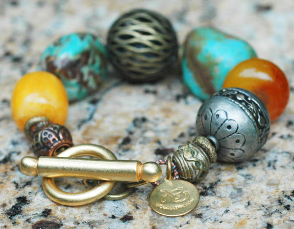 Moroccan-Inspired Turquoise, Amber, Silver and Bronze Charm Bracelet