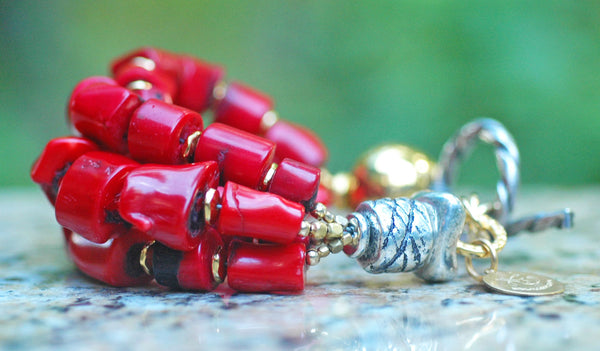 Designer Chunky Nugget, Gold and Silver Statement Red Coral Bracelet