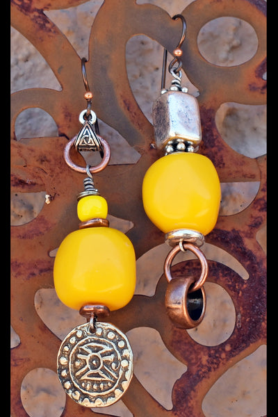 Custom Brown Kukui Nut, Yellow Resin and Silver Jewelry Collection