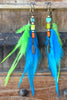 Exotic Island Inspired Turquoise Lime & Orange Feather Tribal Earrings