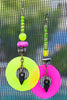 Punk Style Mismatched Black, Neon Green and Pink Shell Hoop Earrings
