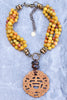 Ethnic and Exotic Yellow Agate and Carved Jade Pendant Necklace