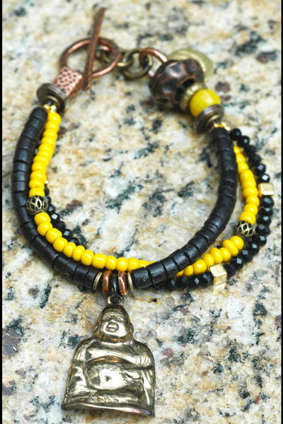 black and yellow buddha charm bracelet