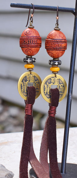 Bold Tribal Style Rustic Amber and Chinese Coin Leather Fringe Earrings