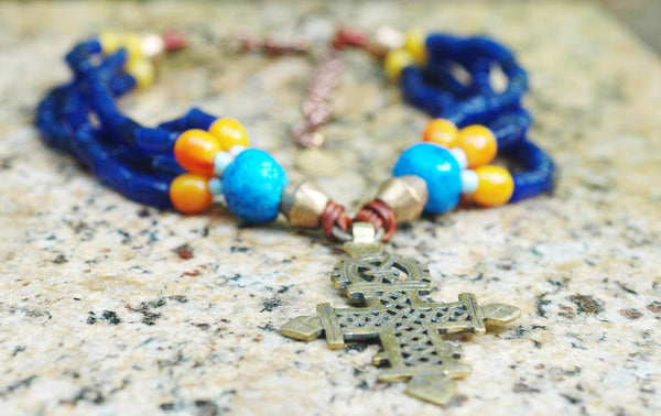 Cobalt Blue Necklace | Ethiopian Coptic Cross | XO Gallery