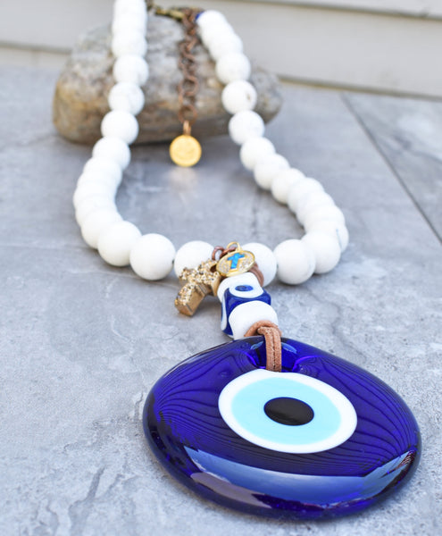 Greek-Inspired White Stone and Cobalt Blue Evil Eye Pendant Necklace
