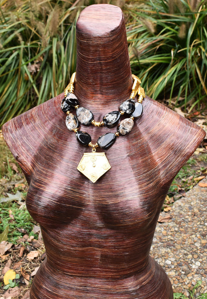 Elegant Classic Black Agate & Turkish Gold Pendant Statement Necklace
