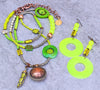 Fun and Funky Bohemian Citrus Neon Lime Green Necklace and Earrings