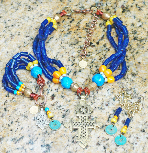 Cobalt Blue Jewelry | Evil Eye Jewelry | Ethiopian Coptic Cross