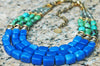 Stunning Green Turquoise, Blue Jade, Gold & Silver Statement Necklace