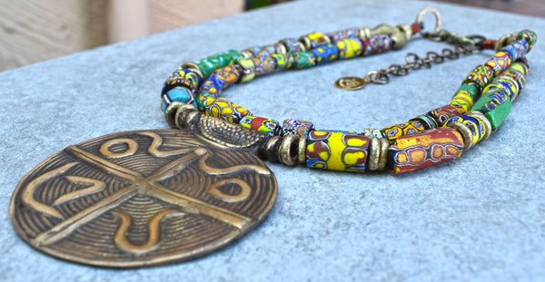 Ethnic & Exotic African Trade Bead & Brass Medallion Statement Necklace