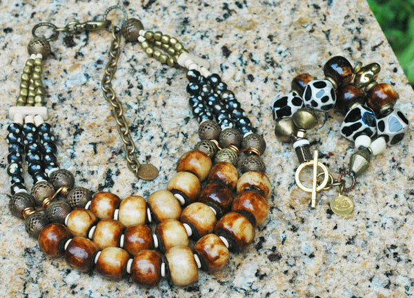 African-Inspired Brown, Bone, Black, Brass and Ivory Statement Necklace