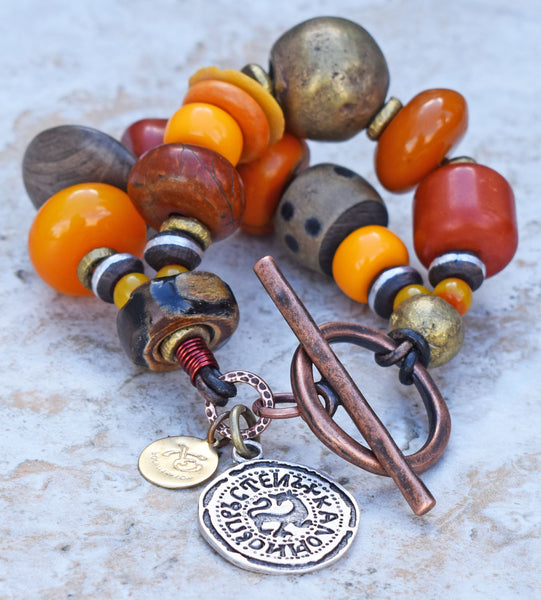 Bold Island Tribal Chunky Amber, Horn, Brass & Wood Statement Bracelet
