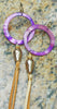 Boho Chic Purple Shell Hoop, Baroque Pearl & Leather Fringe Earrings