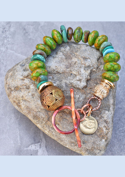 Simple Bold Mosaic Green Turquoise, African Brass and Gold Bracelet