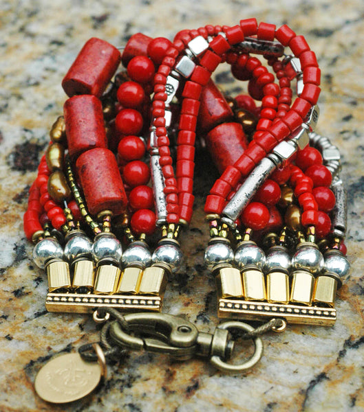 Red Coral, Gold and Silver Multi-Strand Beaded Cuff Bracelet