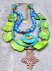 Imperial Green Jasper, Turquoise & Ethiopian Cross Statement Necklace