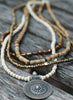 Long Natural White Bone, Bronze & Silver Multi-Strand Pendant Necklace