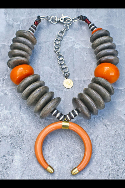 Bold Island Tribal Graywood Disc & Amber Crescent Horn Warrior Necklace