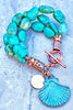 Blue Turquoise Stone, Copper and Verdigris Shell Charm Bracelet