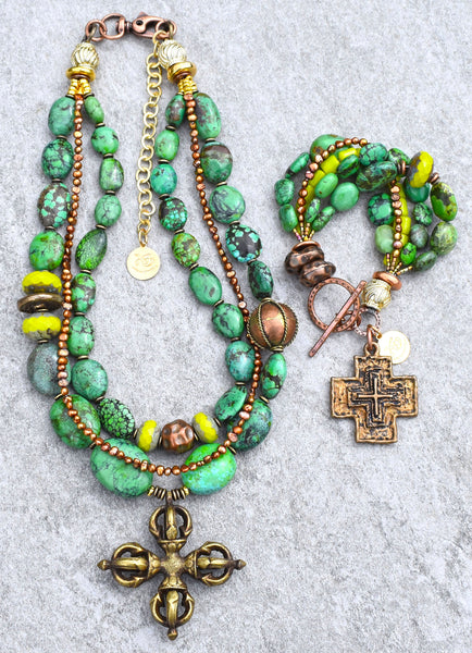 Lush Tropical Green Turquoise, Lime, Copper and Bronze Cross Necklace and Bracelet Set
