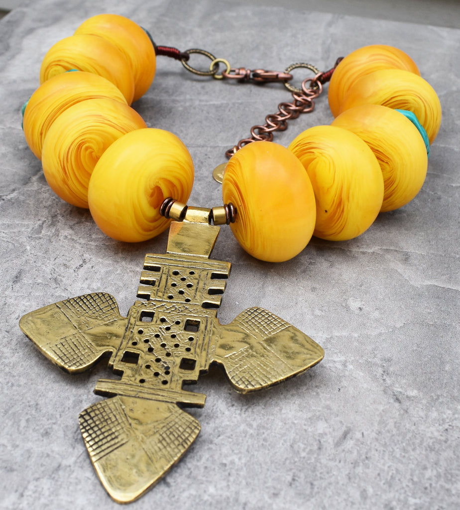 cross ethiopic turquoise african crochet necklace