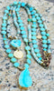 Long Boho Chic Turquoise Blue Glass and Druzy Agate Pendant Necklace