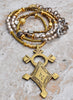 Long Boho Chic Mixed Metals Artisan Tuareg Cross Pendant Necklace