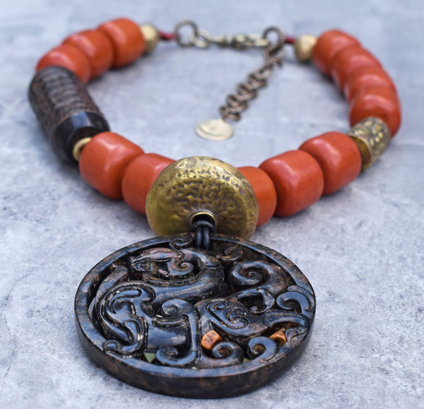 Bold Tribal Style Rustic Amber and Carved Jade Dragon Pendant Necklace