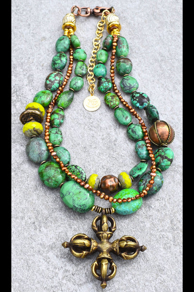 Lush Tropical Green Turquoise, Lime, Copper and Bronze Cross Necklace