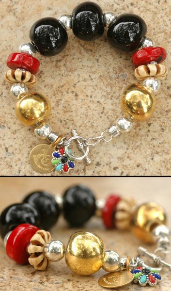 Asian-Inspired Black Gold, Silver, Red Coral & Bone Statement Bracelet