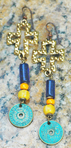 Turkish Cobalt Blue Glass, Amber and Verdigris Coin Dangle Earrings