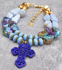 Mystic Violet Purple, Periwinkle Blue and Gold Cross Choker Necklace