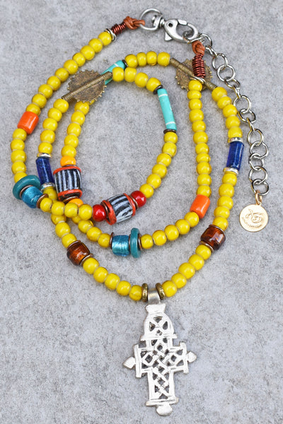 Long African Yellow Glass and Ethiopian Cross Tribal Pendant Necklace