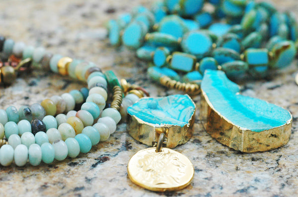 Long Blue Opal, Agate Druzy Pendant Coin Boho Chic Necklaces