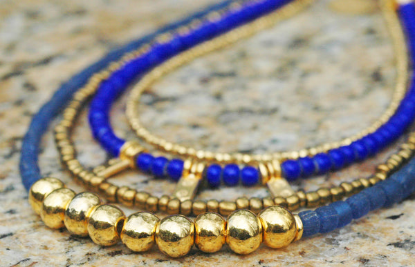 Holiday Inspired Blue Glass, Bronze and Gold Charm Layered Necklace
