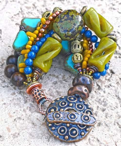 Exotic Tropical Green Serpentine, Turquoise, Mustard & Bronze Bracelet