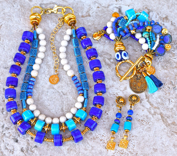 Greek Inspired Cobalt, Turquoise, White & Gold Spiral Jewelry Collection