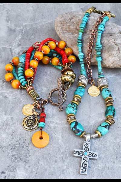 Kathmandu Charm Bracelet and Turquoise and Silver Cross Surfer Necklace