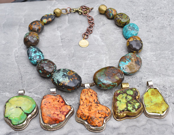 Bold and Chunky Turquoise and Inlaid Amber Pendant Choker Necklace