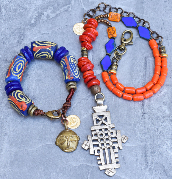 Ethiopian Cross Y Necklace and Ethnic African Krobo Bracelet