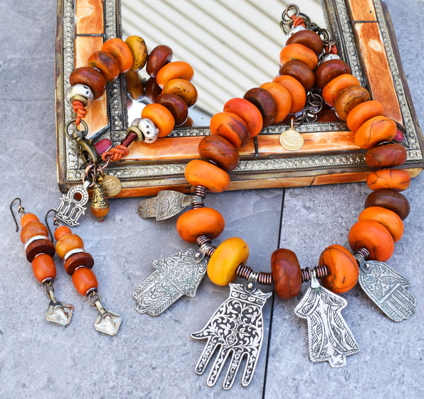Exotic and Ethnic Moroccan Berber Copal Amber and Silver Hamsa Jewelry