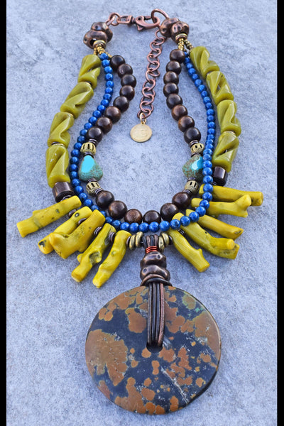 Exotic Tropical Green Coral Fringe and Rustic Turquoise Disc Necklace