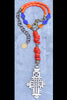 Orange and Purple Everyday Tribal Ethiopian Cross Pendant Necklace