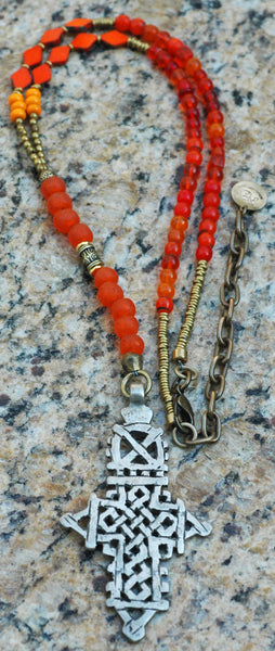 Choose Your Color Everyday Tribal Ethiopian Cross Pendant Necklace