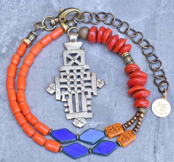 Vibrant Orange and Blue Ethiopian Cross Pendant Choker Necklace