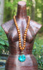 Long Turquoise and Wood Beaded Leather Pendant Necklace