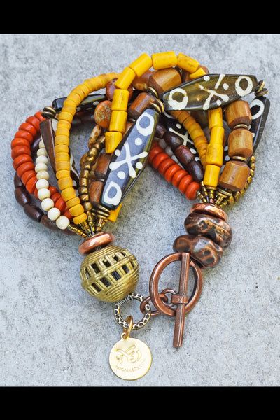 Exotic Brown Bone, Amber, Ivory and Bronze Tribal Statement Bracelet