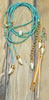 Aqua Blue Crystal & Baroque Pearl Lariat, Choker Necklace & Earrings